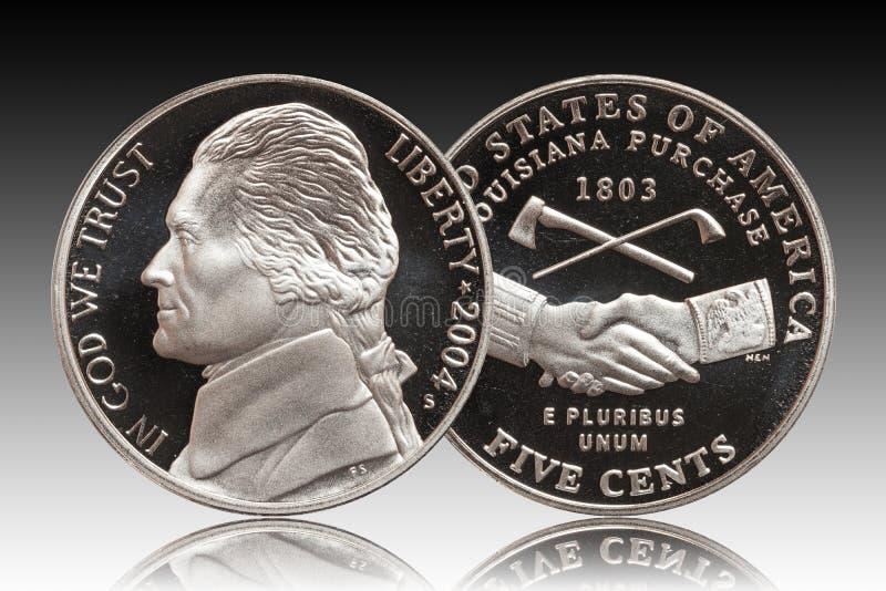 Fundo americano de um inclinação de cinco centavos ilustração royalty free