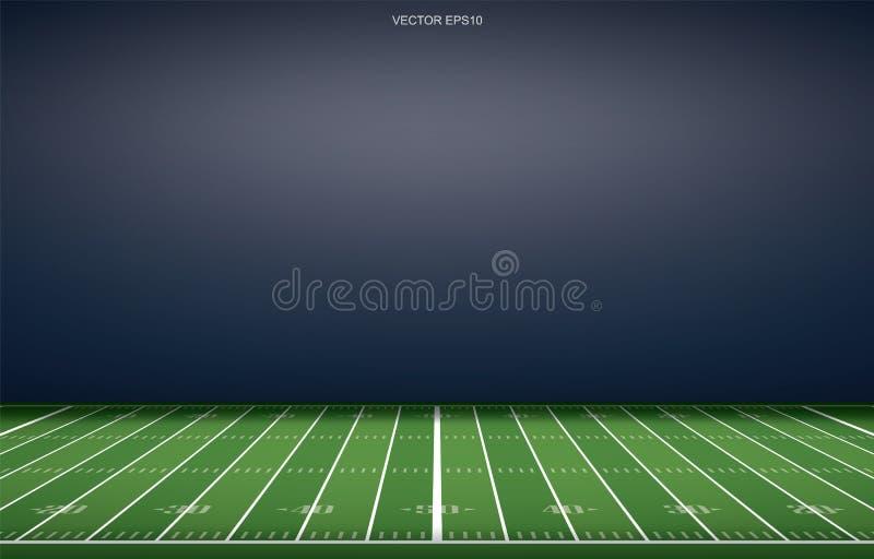 Fundo americano do estádio de futebol com linha teste padrão da perspectiva de campo de grama ilustração stock