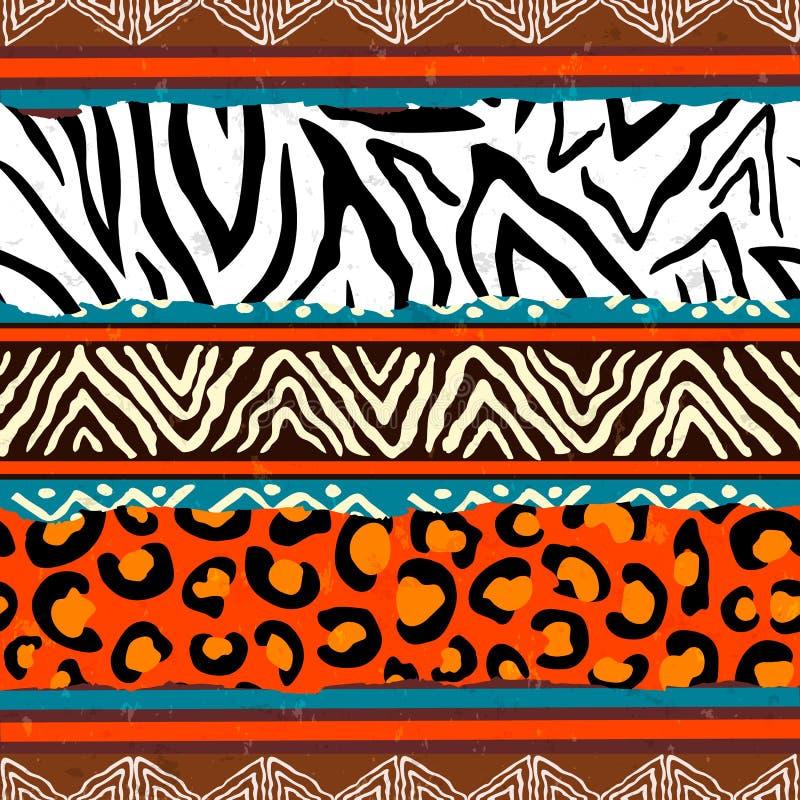 Fundo animal africano do teste padrão da cópia ilustração stock