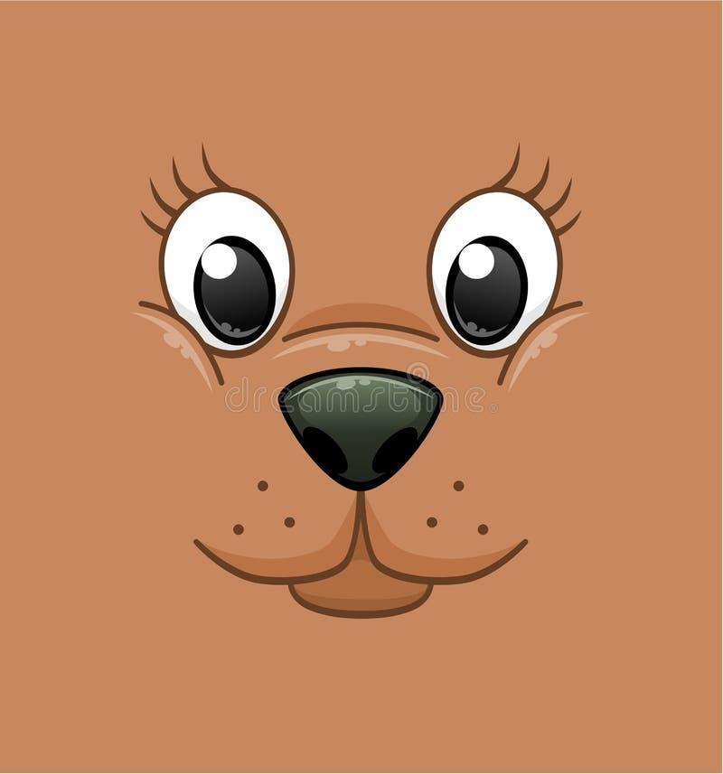 Fundo animal da cara dos desenhos animados ilustração royalty free