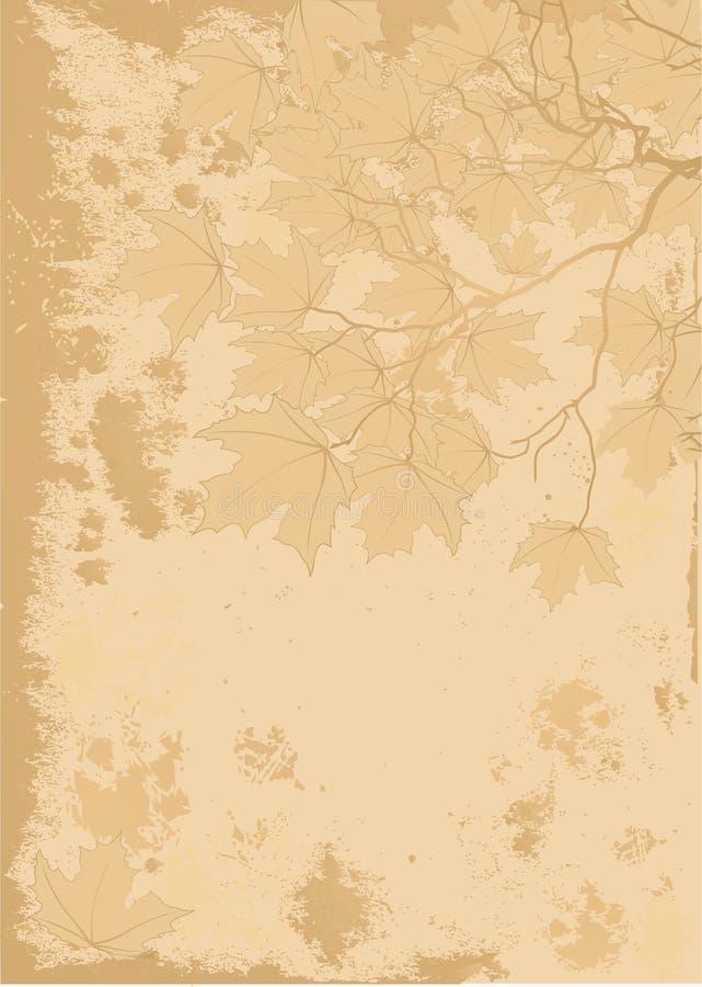 Fundo antigo das folhas de outono ilustração stock