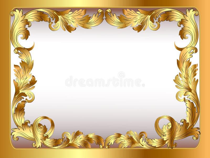 Fundo antigo orname vegetativo quadro do ouro ilustração do vetor