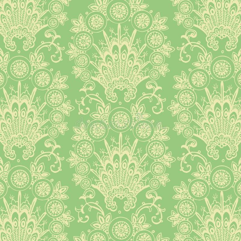 Fundo antigo verde da flor do vintage ilustração royalty free
