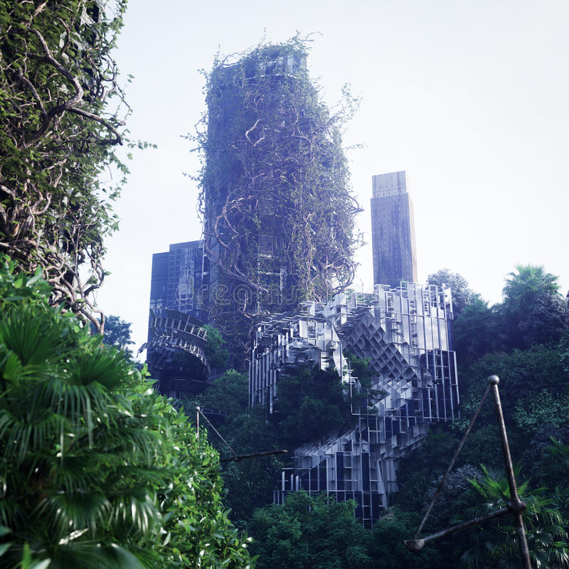 Fundo apocalíptico do conceito da cidade futurista e abandonada imagem de stock royalty free