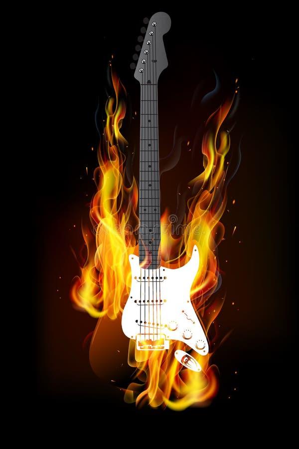 Fundo ardente do fogo da guitarra ilustração royalty free