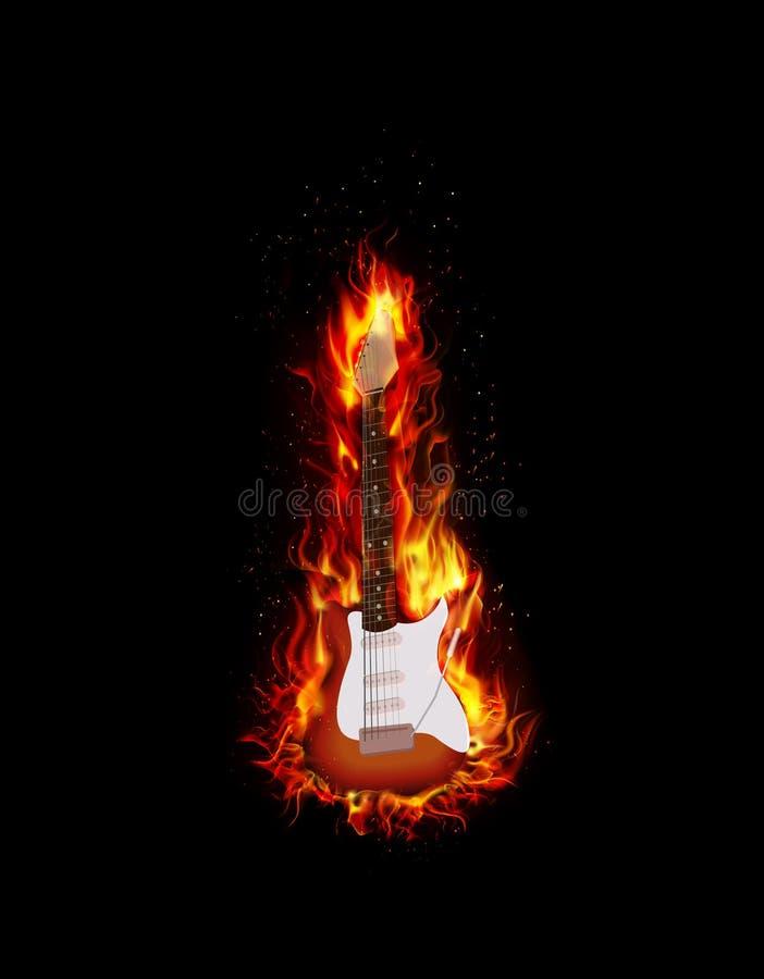 Fundo ardente do preto da guitarra do fogo ilustração royalty free