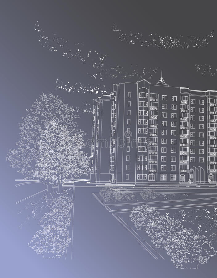 Download Fundo Arquitectónico Cinzento Com Edifício Ilustração do Vetor - Ilustração de indústria, assoalho: 16866851