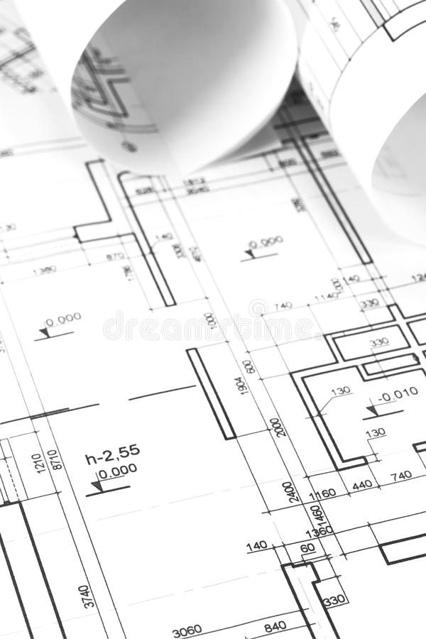 Download Rolos E Planos Do Arquiteto Foto de Stock - Imagem de industrial, indústria: 29828758
