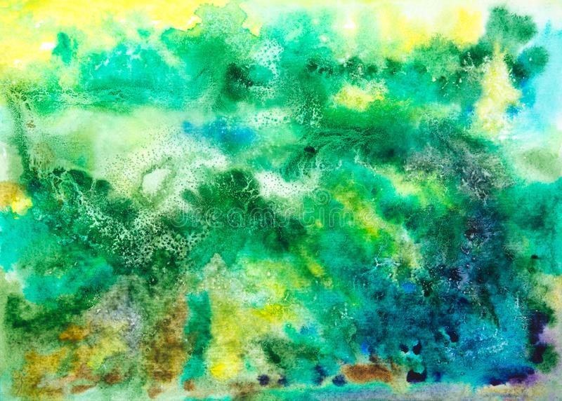 Fundo artístico abstrato do verde da aquarela fotos de stock