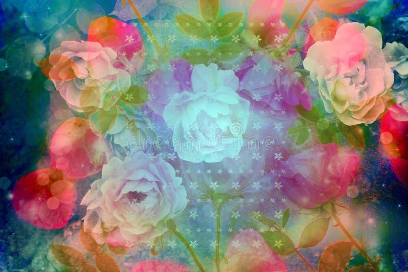 Fundo artístico bonito com as rosas cor-de-rosa românticas imagens de stock royalty free