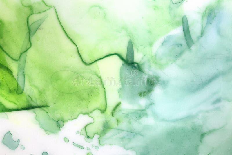 Fundo artístico com cursos, gotas, marcas e lavagens verdes da escova do watercolour ilustração do vetor