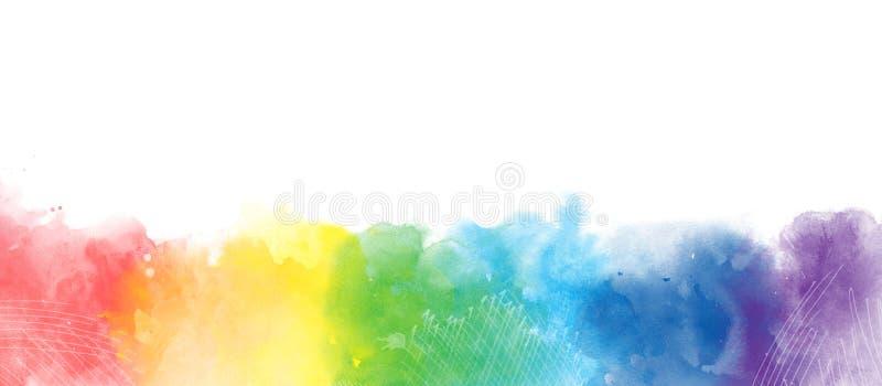 Fundo artístico da beira da aquarela do arco-íris isolado no branco ilustração royalty free