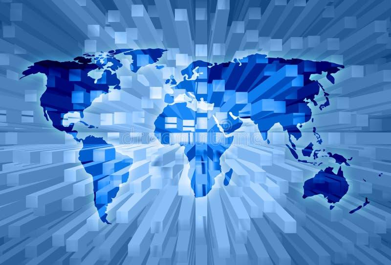 Fundo artístico da ilustração do mapa do mundo ilustração royalty free