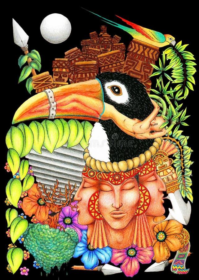 Fundo artístico do mundo novo da fantasia de Toucan ilustração do vetor