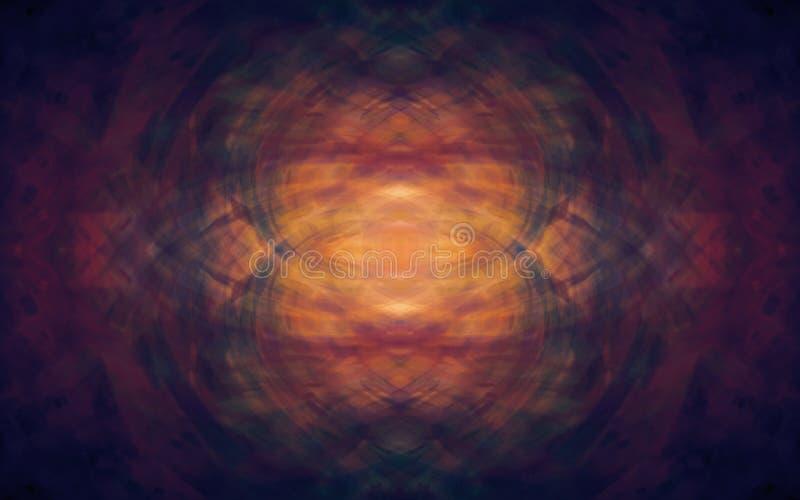 Fundo artístico do sumário do holograma da ilusão com obscuridade misteriosa - cor marrom vermelha ilustração do vetor