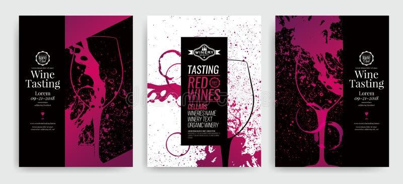 Fundo artístico para o evento do vinho Ideia para a pintura e a promoção do evento do vinho, degustação de vinhos Ilustração do v ilustração royalty free