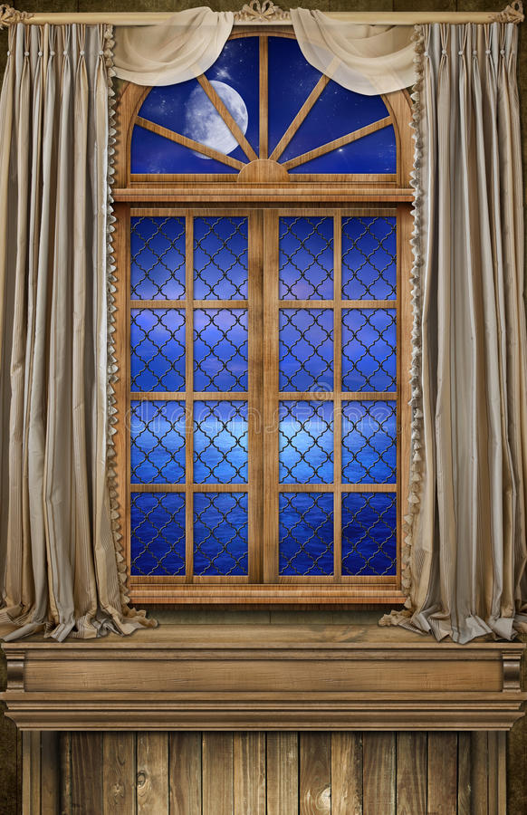 Fundo Art Captains Quarter Window Ocean imagem de stock