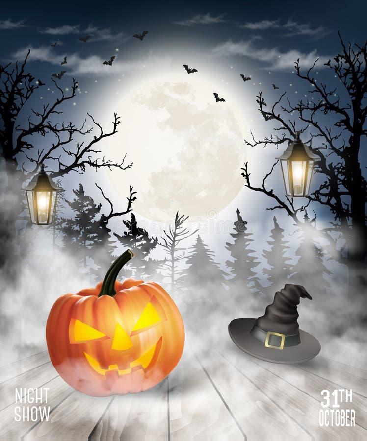 Fundo assustador de Dia das Bruxas com abóbora e lua ilustração stock