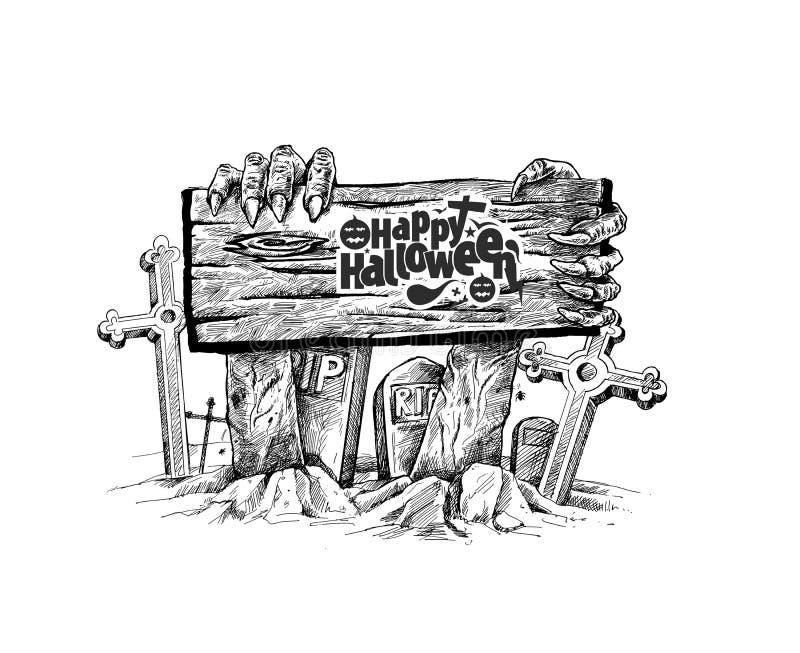 Fundo assustador de Dia das Bruxas com um sinal de madeira isolado ilustração do vetor