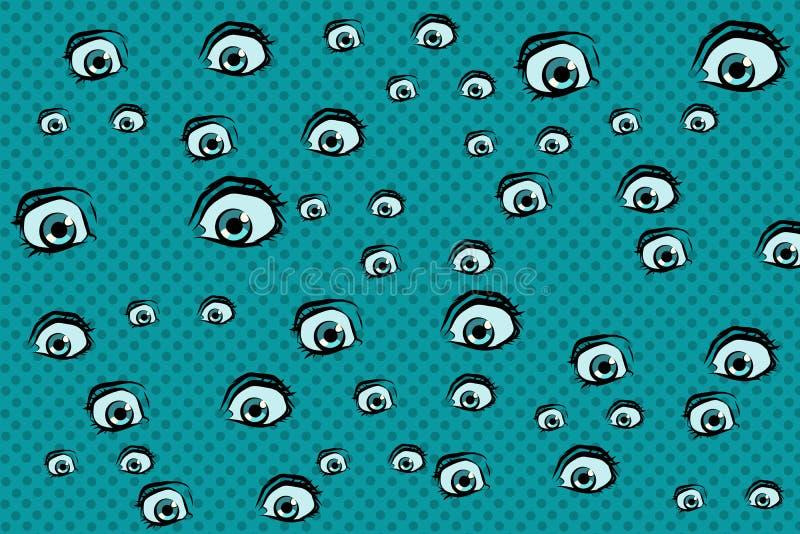Fundo assustador dos olhos ilustração royalty free