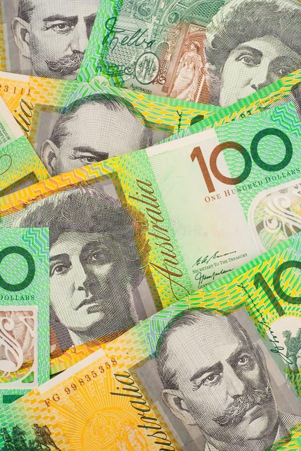 Fundo australiano das notas de banco da moeda $100 imagem de stock royalty free