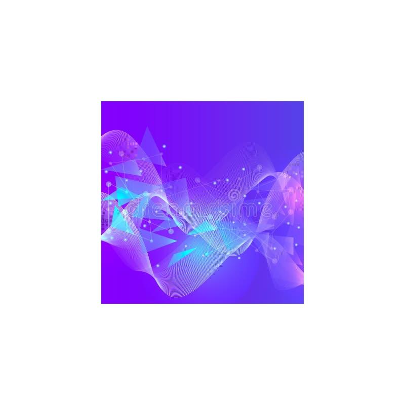 Fundo azul abstrato Baixo fundo poli do espa?o poligonal abstrato com pontos e linhas de conex?o ilustração royalty free
