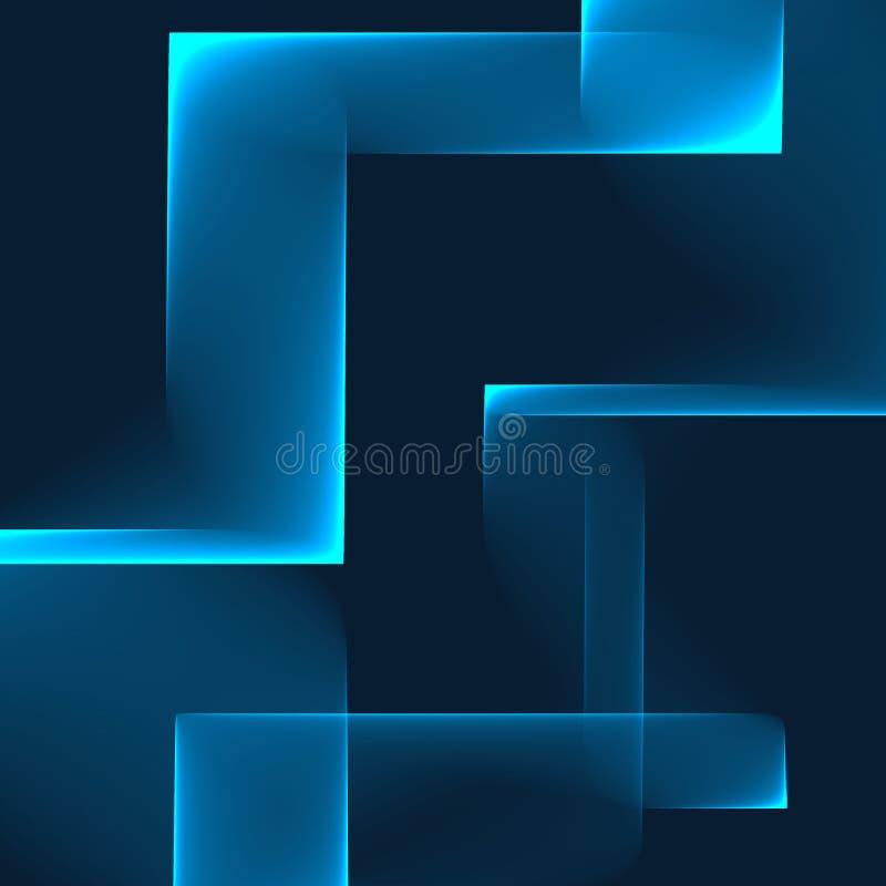 Fundo azul abstrato Blocos brilhantes do azul na obscuridade - fundo azul Teste padrão geométrico em cores azuis ilustração do vetor