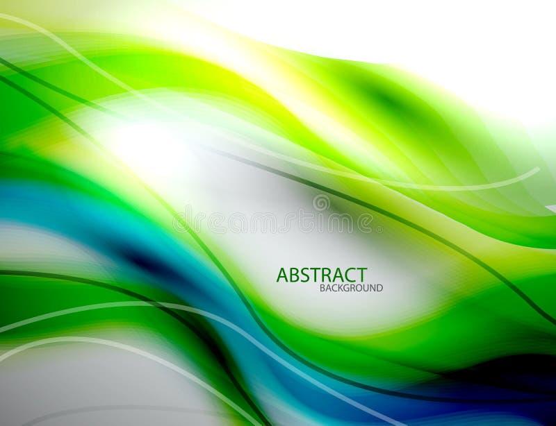 Fundo azul abstrato borrado da onda verde ilustração do vetor