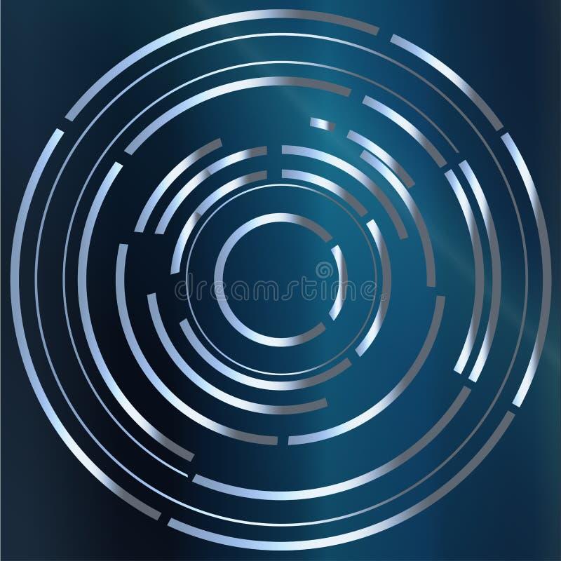 Fundo azul abstrato circular ilustração do vetor