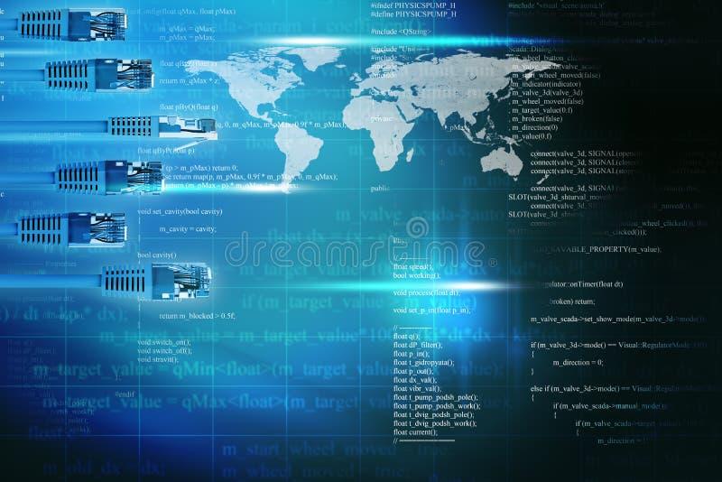 Fundo azul abstrato com cabos do computador ilustração royalty free