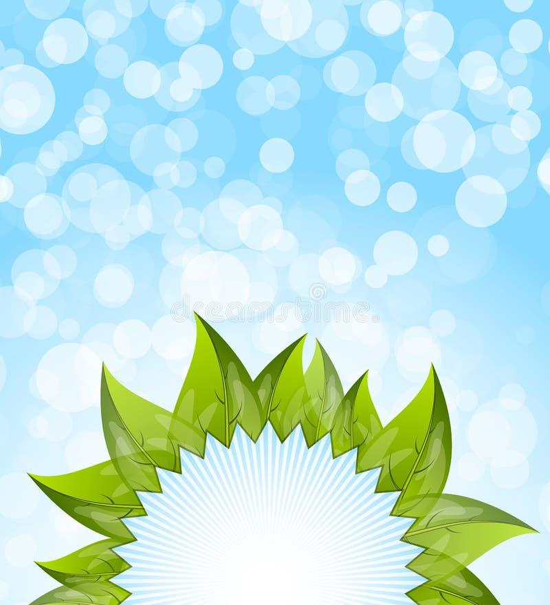 Fundo azul abstrato com folhas ilustração royalty free
