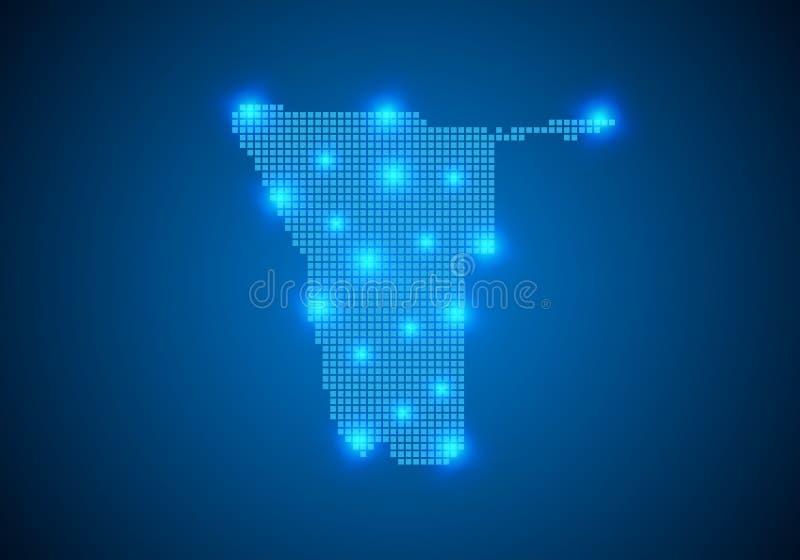 Fundo azul abstrato com mapa, linha do Internet, pontos conectados mapa connosco do ponto Conceito da conex?o de rede global fio ilustração stock