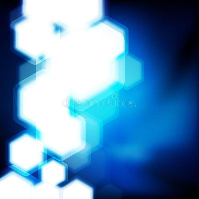 Fundo azul abstrato com o bokeh dos hexágonos defocused ilustração royalty free