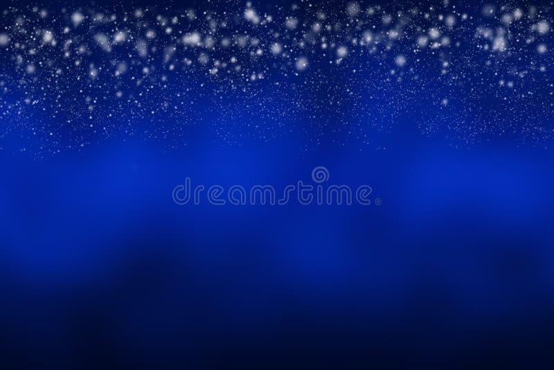Fundo azul abstrato com queda branca da neve ilustração stock