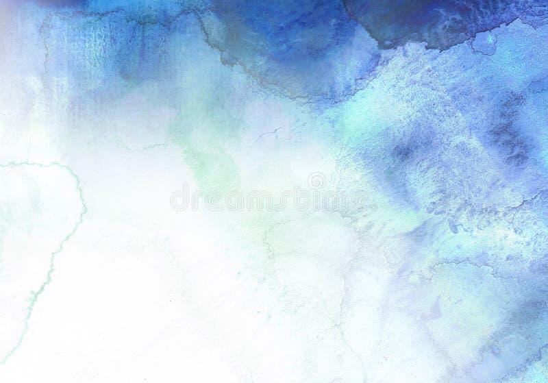 Fundo azul abstrato da aguarela ilustração do vetor