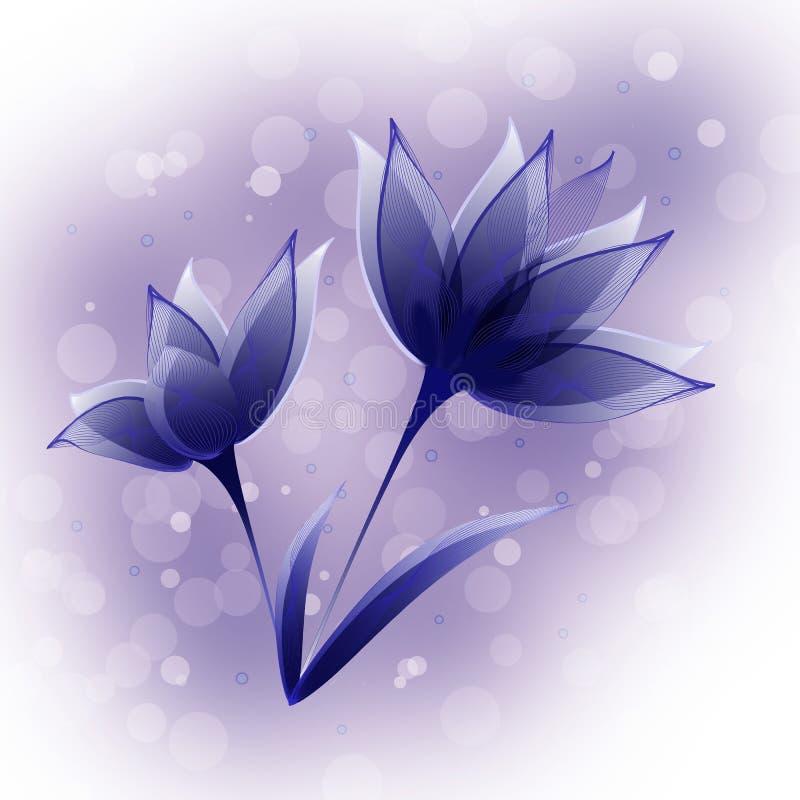 Fundo azul abstrato da flor ilustração stock