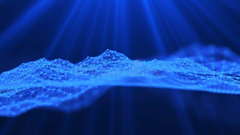 Fundo azul abstrato da m?sica Onda sadia Elemento futurista do AI da tecnologia Visualiza??o grande dos dados rendi??o 3d ilustração stock
