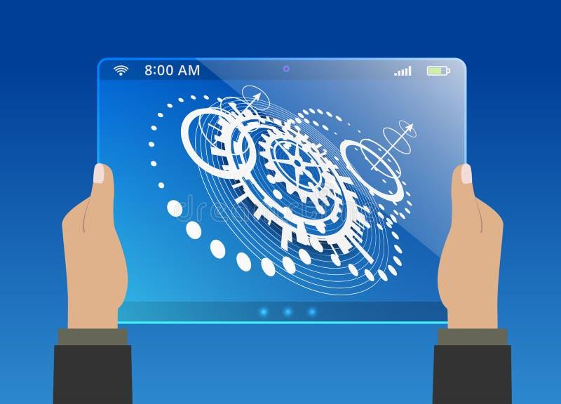 Fundo azul abstrato da tecnologia ilustração stock