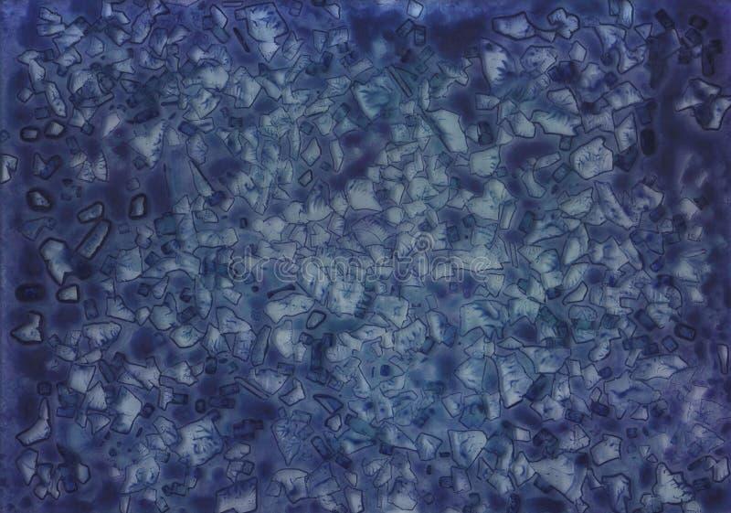 Fundo azul abstrato do acr?lico da aquarela do vidro de mosaico ilustração stock