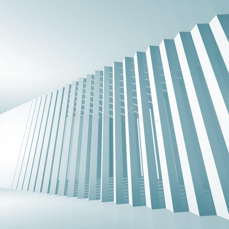 Fundo azul abstrato do interior do quadrado 3d ilustração do vetor