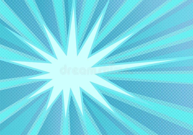 Fundo azul abstrato do pop art com raios dos azuis celestes e os pontos de intervalo mínimo ilustração do vetor