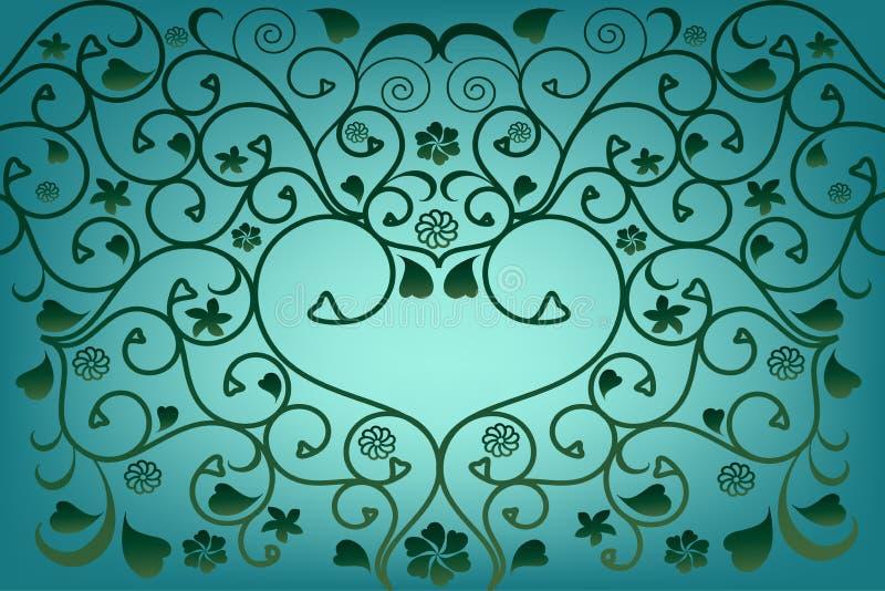 Fundo azul abstrato do vetor com corações ilustração royalty free
