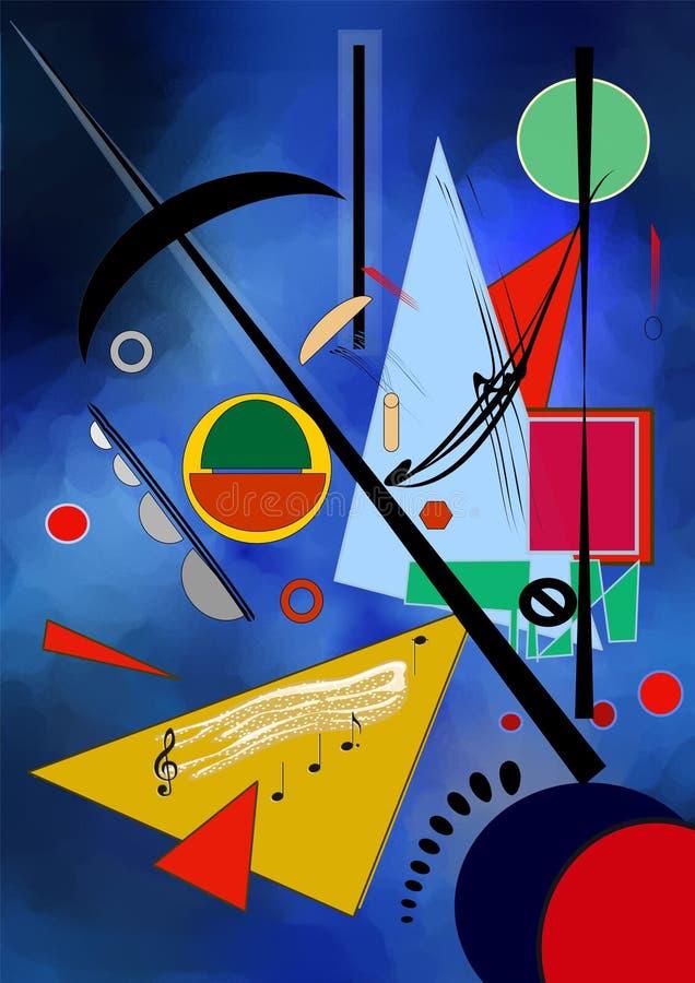 Fundo azul abstrato, inspirado pelo kandinskij do pintor imagem de stock