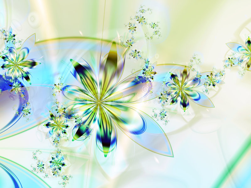 Fundo azul amarelo da flor do Fractal ilustração stock
