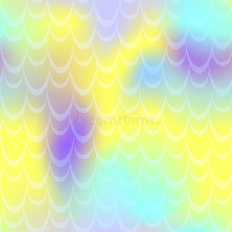 Fundo azul amarelo da pele da sereia da hortelã Fundo iridescente alegre Teste padrão da escala de peixes ilustração do vetor