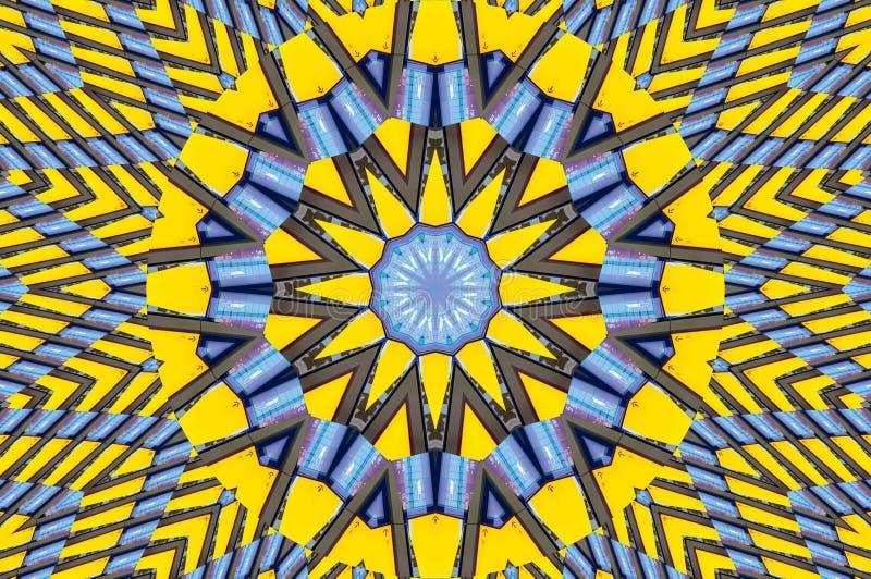 Fundo azul amarelo do sumário da arquitetura do teste padrão do caleidoscópio Patte abstrato do fractal do sumário do fundo do ca ilustração stock
