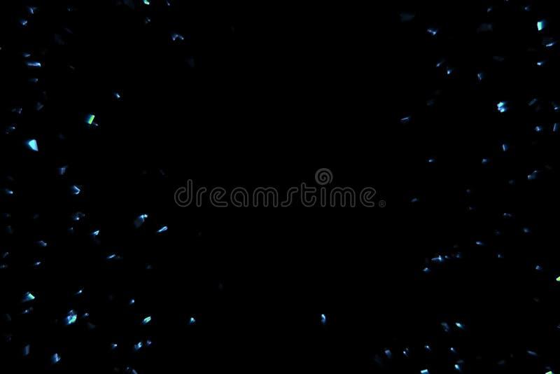 Fundo azul bonde da faísca com as partículas que fluem no preto, feriado festivo ilustração do vetor
