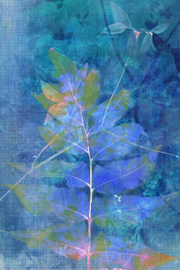 Fundo azul bonito do grunge com folhas ilustração stock