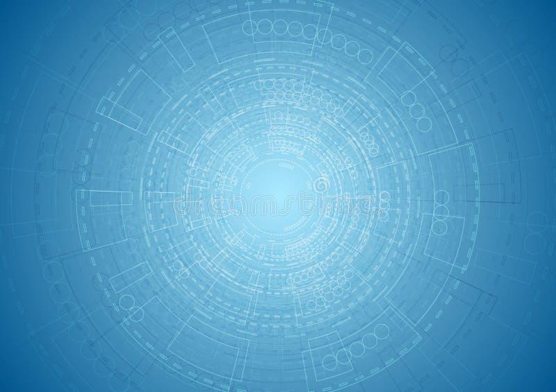 Fundo azul brilhante abstrato da engenharia da tecnologia ilustração stock