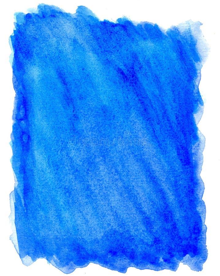 Fundo azul brilhante da aquarela no branco ilustração royalty free